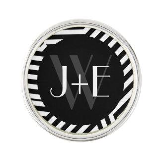 Trendy Black and White Monogram Stripes Wedding Lapel Pin