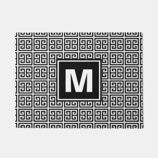 Trendy Black and White Pattern Monogram Doormat