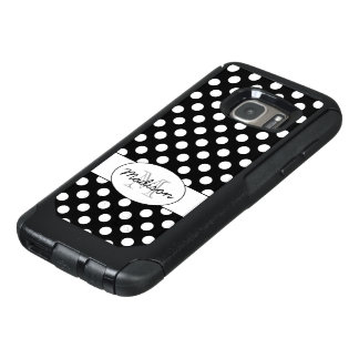 Trendy Black and White polka dots Monogram OtterBox Samsung Galaxy S7 Case