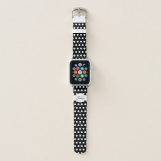 Trendy Black and White polka dots pattern Monogram Apple Watch Band