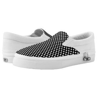 Trendy Black and White polka dots pattern Slip-On Shoes