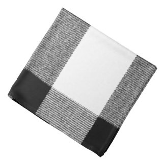 Trendy Black and White Retro Cozy Buffalo Plaid Bandanna