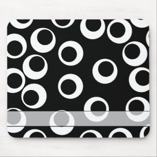Trendy black and white retro design. Custom Mouse Mat