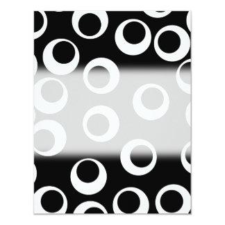 """Trendy black and white retro design. 4.25"""" x 5.5"""" invitation card"""