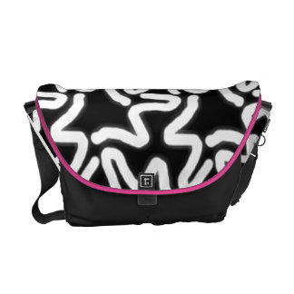 Trendy Black and White Squiggley Abstract Pattern Commuter Bag