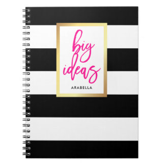 Trendy Black and White Stripes Gold and Typography Spiral Notebook
