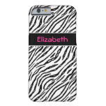 Trendy Black and White Tiger Stripes Pink Name