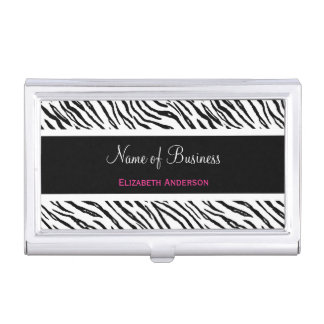 Trendy Black and White Tiger Stripes Pink Name Business Card Holder