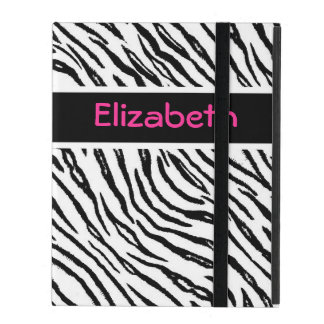 Trendy Black and White Tiger Stripes Pink Name iPad Cover