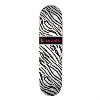 Trendy Black and White Tiger Stripes Pink Name Skate Decks
