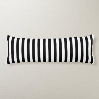 Trendy Black and White Wide Horizontal Stripes Body Cushion