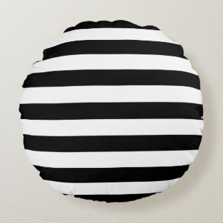 Trendy Black and White Wide Horizontal Stripes Round Cushion