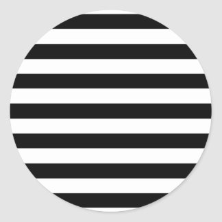 Trendy Black and White Wide Horizontal Stripes Round Sticker