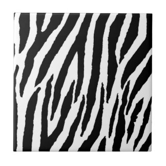 Trendy Black And White Zebra Pattern Small Square Tile