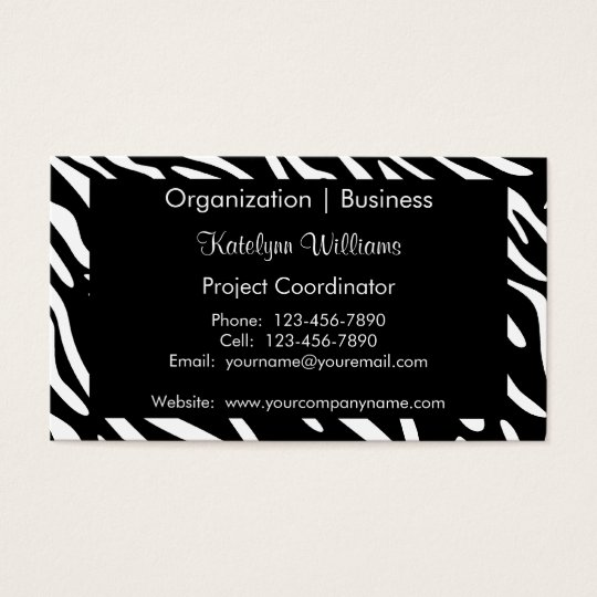Trendy Black and White Zebra Print Business Cards