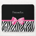 Trendy Black And White Zebra Print Pink Ribbon