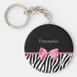 Trendy Black And White Zebra Print Pink Ribbon Basic Round Button Key Ring