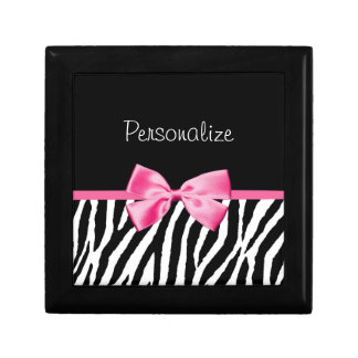 Trendy Black And White Zebra Print Pink Ribbon Gift Box