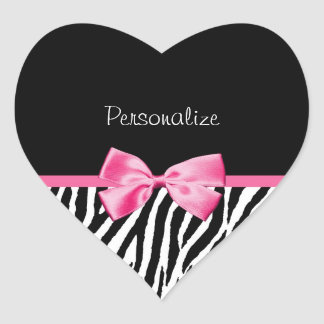 Trendy Black And White Zebra Print Pink Ribbon Heart Sticker