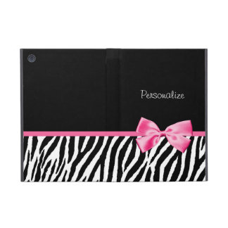 Trendy Black And White Zebra Print Pink Ribbon iPad Mini Covers