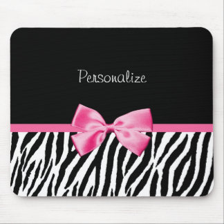 Trendy Black And White Zebra Print Pink Ribbon Mouse Mat