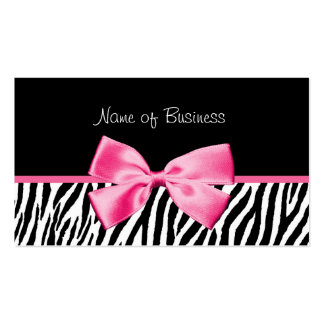 Trendy Black And White Zebra Print Pink Ribbon Pack Of Standard Business Cards