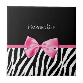 Trendy Black And White Zebra Print Pink Ribbon Small Square Tile