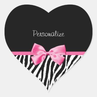 Trendy Black And White Zebra Print Pink Ribbon Heart Sticker