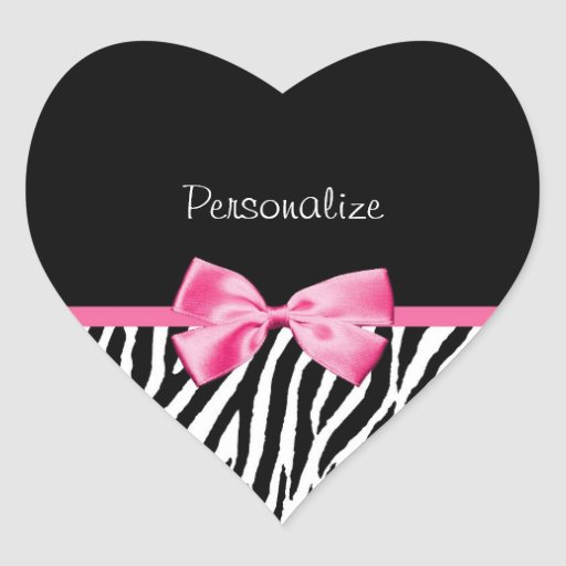 Trendy Black And White Zebra Print Pink Ribbon Stickers