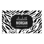 Trendy Black and White Zebra Print Shiny Diamond Pack Of Standard Business Cards