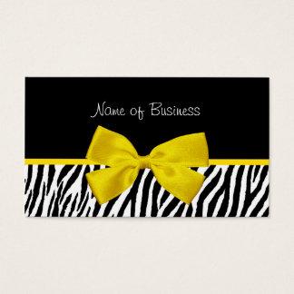 Trendy Black And White Zebra Print Yellow Ribbon