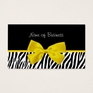 Trendy Black And White Zebra Print Yellow Ribbon Business Card