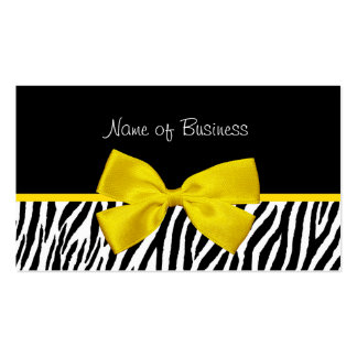 Trendy Black And White Zebra Print Yellow Ribbon Pack Of Standard Business Cards