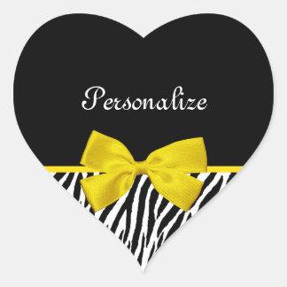 Trendy Black And White Zebra Print Yellow Ribbon Heart Sticker