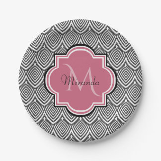Trendy Black Arched Scallops Pink Monogram Name Paper Plate