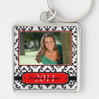 Trendy black damask graduation photo keychain