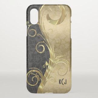 Trendy Black Damasks Gold Swirls iPhone X Case