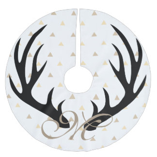 Trendy Black Deer Antlers Gold Confetti Monogram Brushed Polyester Tree Skirt