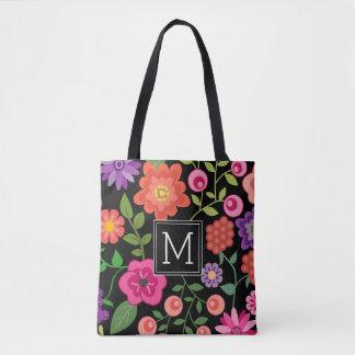 Trendy Black Floral Pattern with Custom Monogram Tote Bag