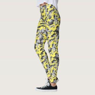 Trendy Black, Grey & Yellow Camo Print Sports