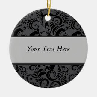 Trendy Black Pattern Customizable Grey Bar Christmas Ornament
