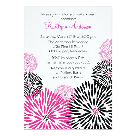 Trendy Black/Pink Flower Bridal Shower Invitation