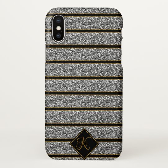 Trendy Black Silver Glitter Stripes  Monogrammed iPhone X Case