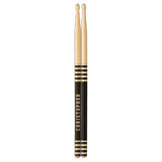 Trendy Black Stripes Custom Name A01 Drumsticks