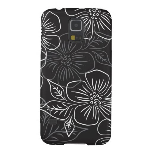 Trendy Black White Big Bold Floral Pattern Case For Galaxy S5