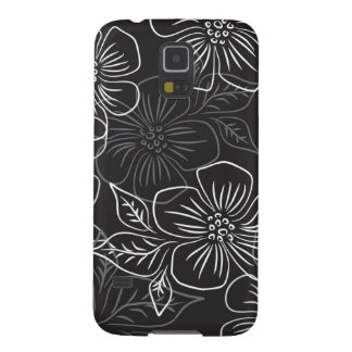 Trendy Black White Big Bold Floral Pattern Galaxy S5 Covers