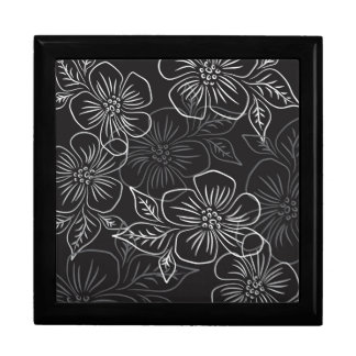Trendy Black White Big Bold Floral Pattern Large Square Gift Box