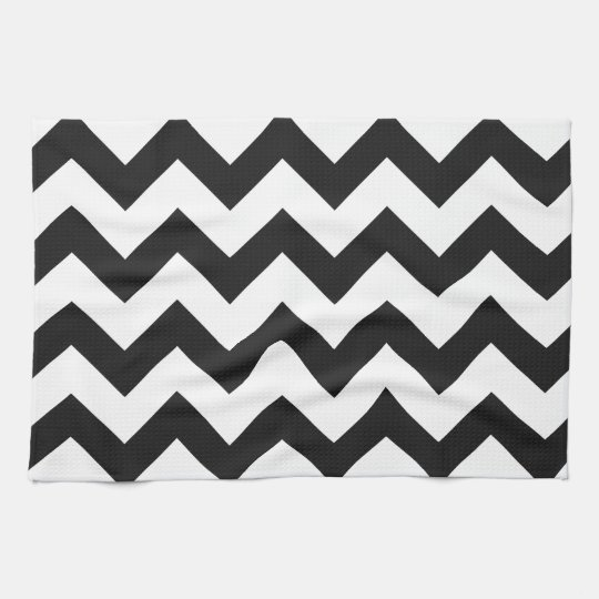 Black And White Chevron Hand Towels: Trendy Black & White Chevron Pattern Tea Towel