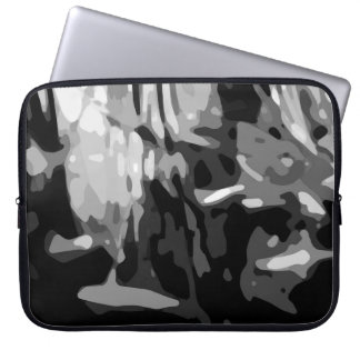 Trendy Black White Gray Abstract Pattern Laptop Sleeve