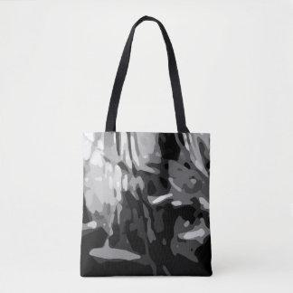 Trendy Black White Gray Camo Pattern Tote Bag